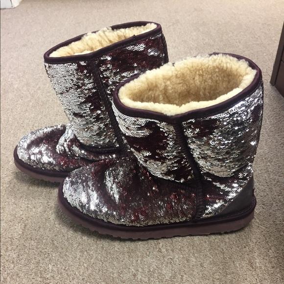 f38b9e7bd9a Maroon sparkle Ugg boots